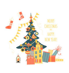 christmas and new year greeting banner vector image