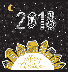 christmas greeting card with houses placed vector image