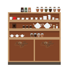 Closet wardrobe in cafe or restaurant with cup and vector