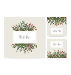Collection of square card templates with ferns vector
