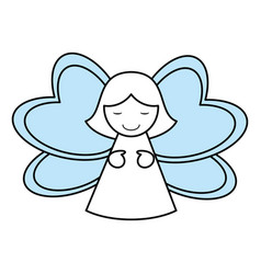 color silhouette image of decorative angel vector image