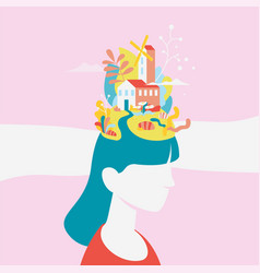 concept about processes thinking women vector image