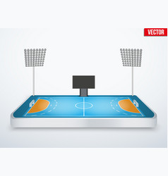 Concept of miniature tabletop handball arena vector