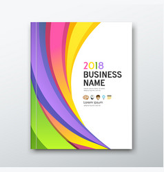 Cover business book annual report colorful curve vector