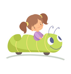 Cute little girl riding caterpillar car happy kid vector