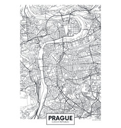 Detailed poster city map prague vector