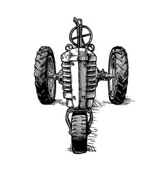 drawing of tractor stylized as engraving vector image