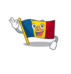 Flag andorra scroll mascot design making an okay vector