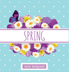 floral card template with sample text on white vector image