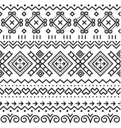 Folk art black seamless geometric pattern vector