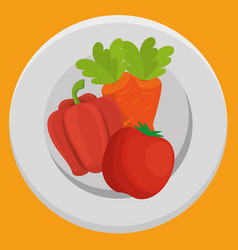 Fresh carrot and pepper with tomato vegetables vector