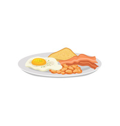 fried egg and bacon with beans and toast on white vector image