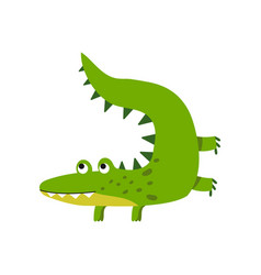 Funny cartoon crocodile character friendly vector