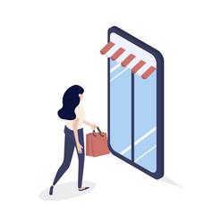 girl shop online isometric concept vector image