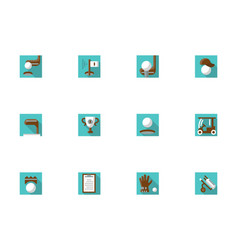 Golf elements square blue icons set vector
