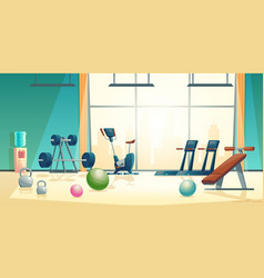 Gym background with treadmill bike vector