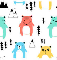 hand drawing cute animals seamless pattern vector image