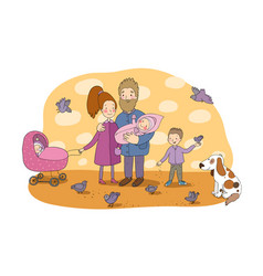 happy family with newborns mom dad and kids on a vector image