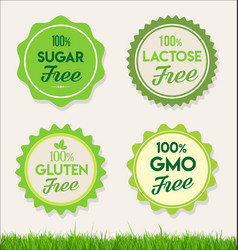 healthy natural food labels organic tags 1 vector image