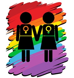 Lesbians with rainbow background vector