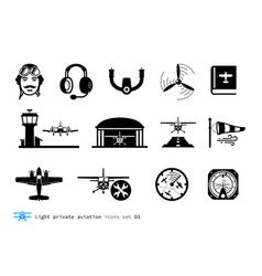 light private aviation icons vector image