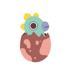 lovely dino hatched from egg adorable baby vector image