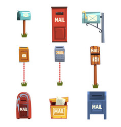 Mail boxes set vintage postbox cartoon vector