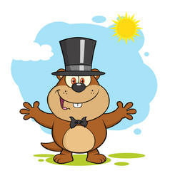 Marmot cartoon character with open arms vector