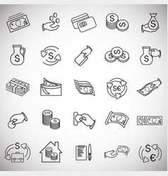 money and finance thin line set on white vector image