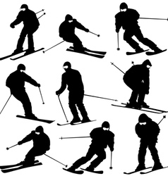 Mountain skier man speeding down slope sport vector