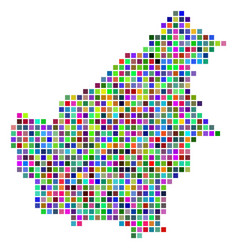 Multicolored dot borneo island map vector