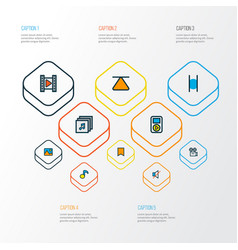 multimedia icons colored line set with pause vector image