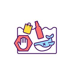 Ocean pollution prevention rgb color icon vector