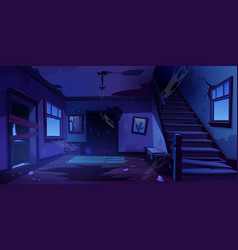 old abandoned house hallway at night vector image