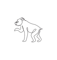 One single line drawing adorable mandrill vector