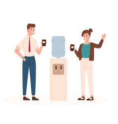 Pair of man and woman standing beside office vector