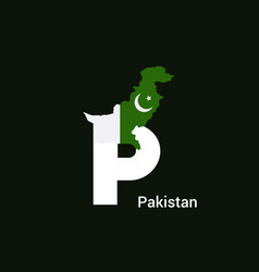 pakistan initial letter country with map and flag vector image