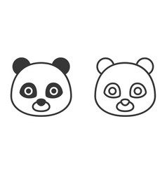 panda outline and silhouette icon vector image