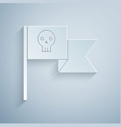 Paper cut pirate flag with skull icon isolated on vector