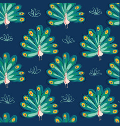 Peacock seamless pattern birds on blue vector