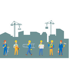 people working on creation city town worker vector image
