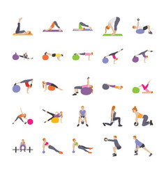 Physical exercises flat vector