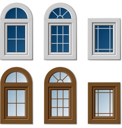 Plastic windows white brown vector