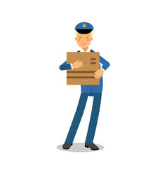 postman in blue uniform holding cardboard box vector image