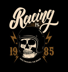 racing emblem template with biker skull design vector image