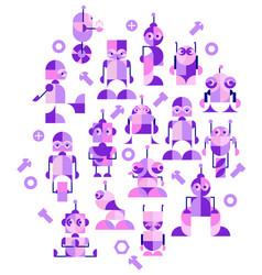 robots in vintage stil vector image