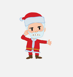 santa claus is angry and points his head with vector image