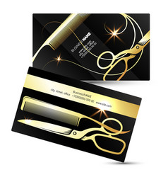 Scissors and comb golden business card vector