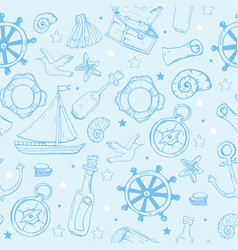 sea elements pattern marine seamless background vector image