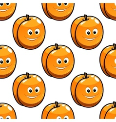 Seamless pattern apricot with happy smiling faces vector